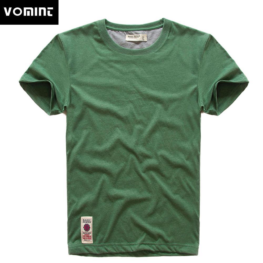 VOMINT New Herren Kurzarm T-Shirt-Druck-T-Shirt aus Baumwolle Multi-reines Farbe Fancy Yarns T-Shirt männlich Farbe grau grün lblue