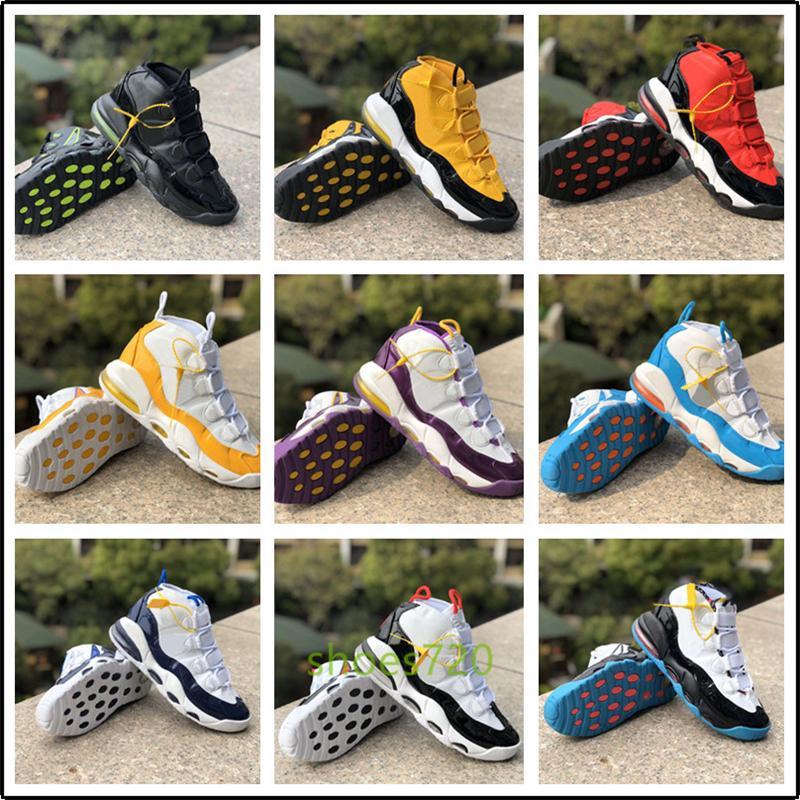 Nike Air More Uptempo Plus récents Plus Uptempo SUPTEMPO Hommes Chaussures de basket-PRM premium 96 Lin Blé d'or de métallisé trois couleurs 3M Pippen air Chaussures de sport