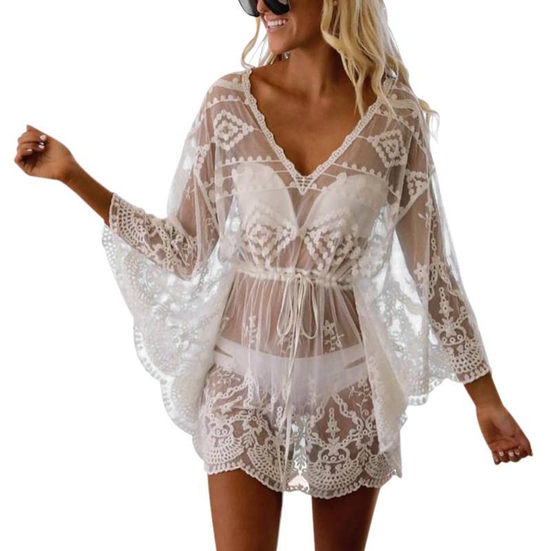2020 del hueco del cordón del verano de las mujeres perspectiva de la cubierta del bikini de ganchillo Hasta floral traje de baño traje de baño Nuevo