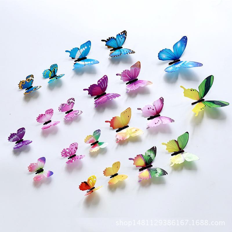3D de la mariposa Pegatinas de pared 12pcs / set Decoración Muti Mariposas de colores Paredes decoraciones ventana impresiones de colores decoración de la etiqueta 0 9GS C2