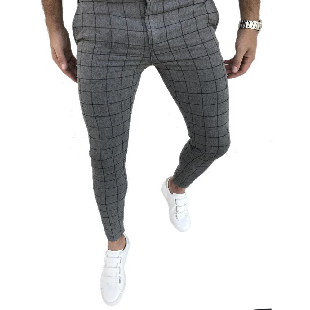 Herrenmode karierte Hose Slim Fit mit geradem Beine Hose-beiläufigen Jogger Hip Hop Jogginghose Street Male ändern Winterkleidung CX200728