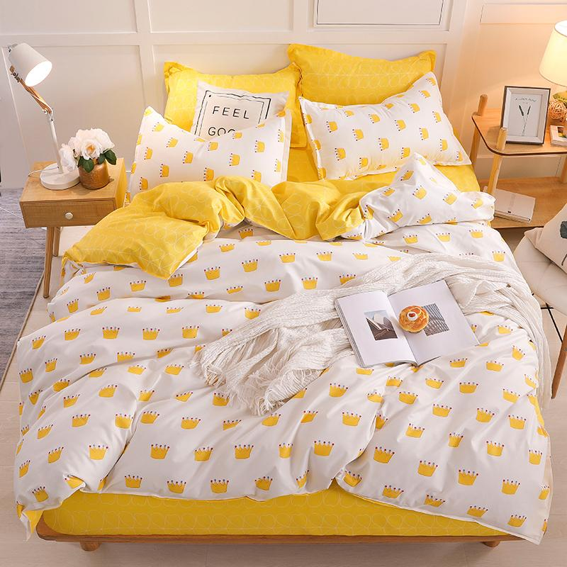 Yellow Crown Single Bed Set Reactive Printed Simple Double Bed sheet ropa de cama Queen Linen King Size Bedding