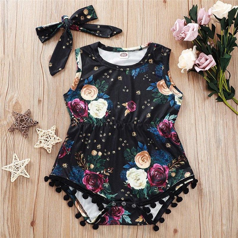 Sommer Neugeborene Baby-Kleidung ärmelBlumenDruck Quaste Spielanzug-Overall-Stirnband 2Pcs Outfits Kleidung Baby Set Zils #