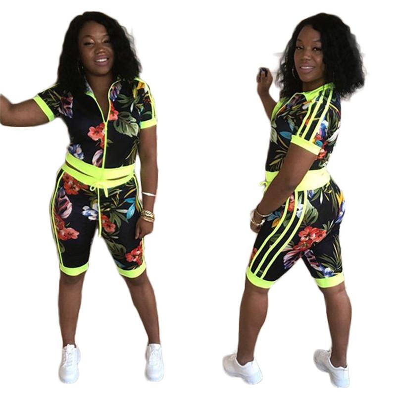 Tie Dye lambrissé Femmes Survêtements Floral Skinny Femmes colorées Designer été 2PCS Zipper Cardigan Shorts Femme En deux pièces Tenues