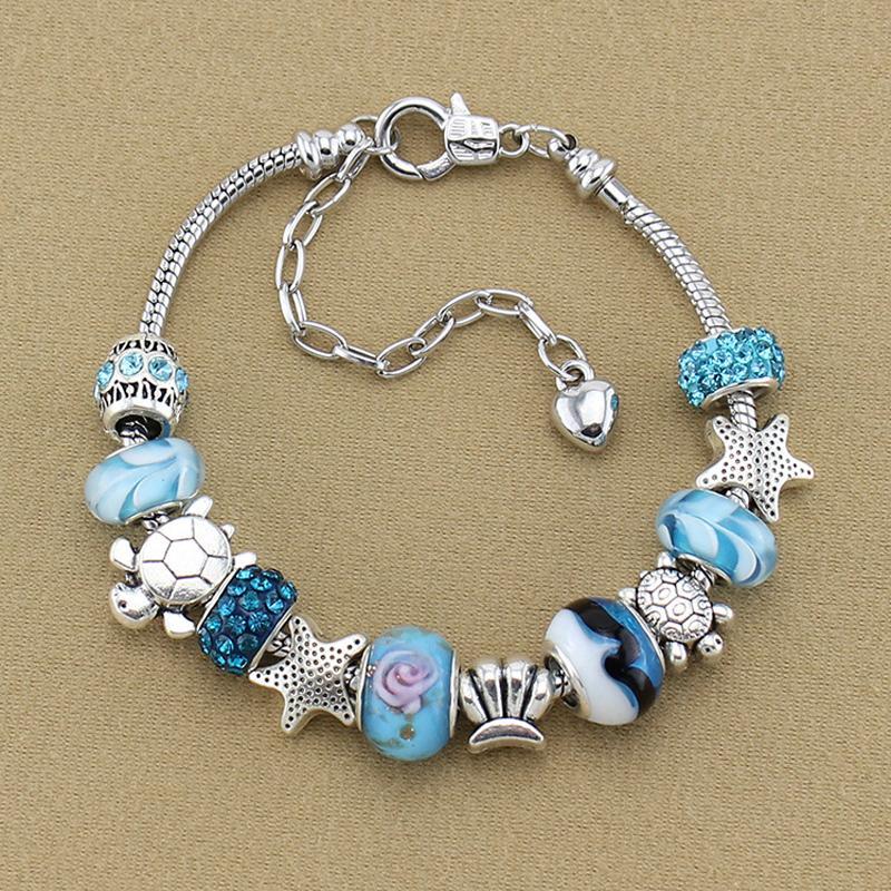 Crystal Blue Ocean Series pulsera Beach cuenta de cristal - estrellas de mar mar Shell tortugas pulseras para las mujeres niñas recuerdo ps1011