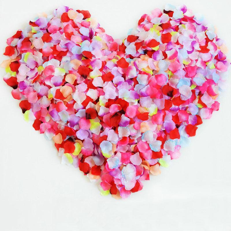 1000pcs artificial de la boda pétalos de rosa Accesorios poliéster Floral boda Rosas Inicio matrimonio disposición de pétalos de flores