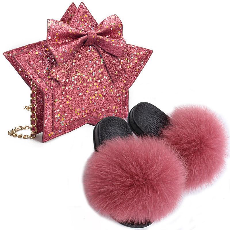 Baby girl Fur Slippers Plush Slippers Summer Girls Sandals Leather Bag Little Girl Pentagram Accessories Bow Bag Slides