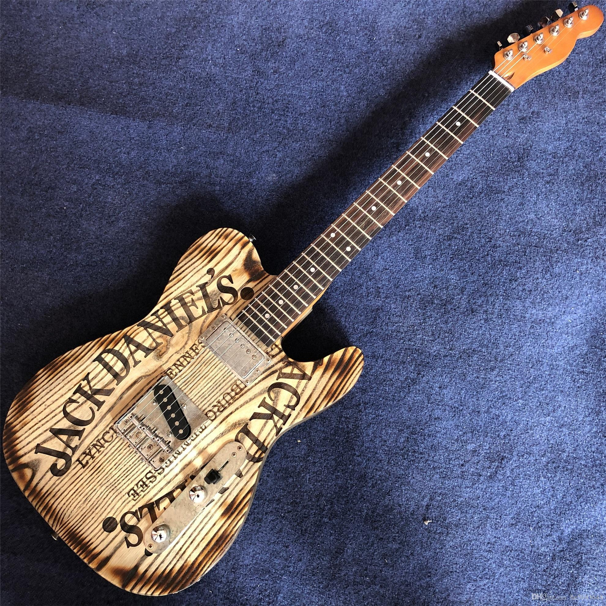 servicio caliente-vendedor de alta calidad de la madera de color natural de la guitarra eléctrica, guitarra cola asado, proporcionan una medida encargo al por mayor