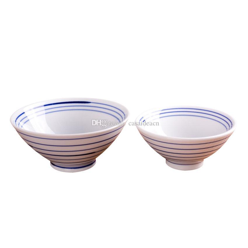"""Rétro rayé bleu bol à la main blanche japonaise Bol en porcelaine pour le riz Miso soupe de nouilles 4,8"""" 5,7"""" High Footed Bowl Conique"""
