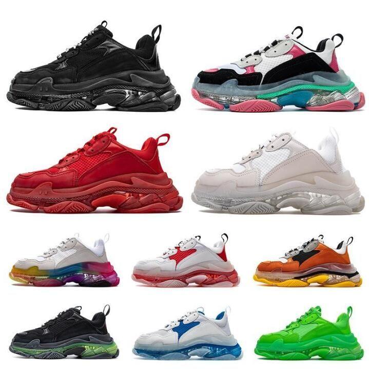 la moda triples s Crystal Bottoms para mujer para hombre de los zapatos ocasionales de París 17FW las zapatillas de deporte de la vendimia mujeres de la plataforma papá papá 2020 nuevos formadores