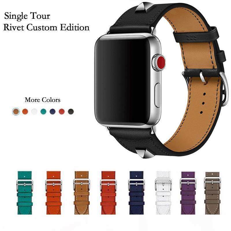 Plus récent en cuir véritable Rivet personnalisé Single Edition tour du bracelet montre bracelet pour Herm Apple Suivre série 4 1 2 3 iWatch 38 42mm T190620