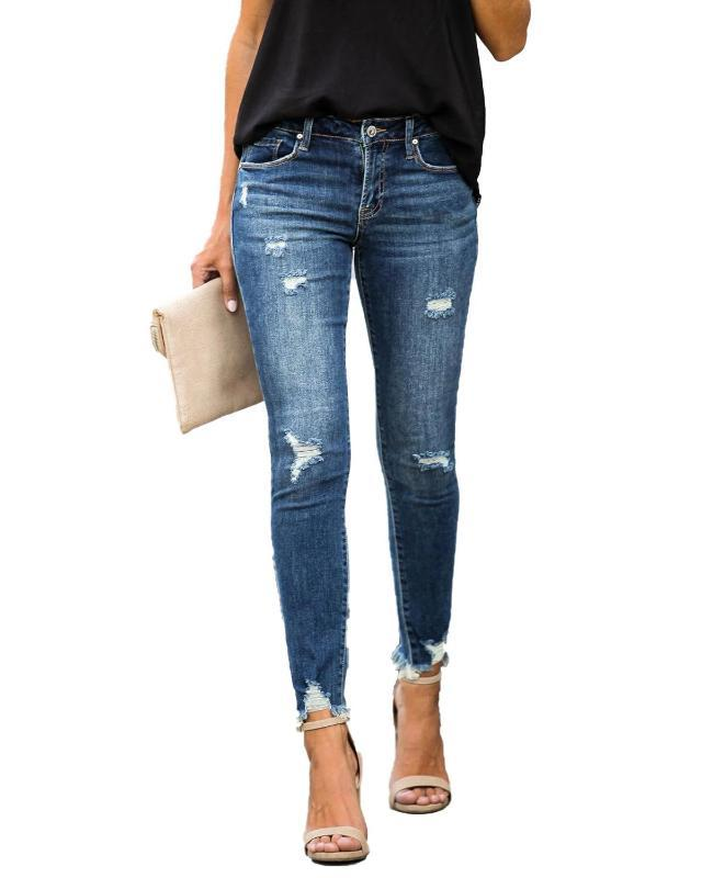 New Mid taille Skinny Jeans Femmes Vintage Distressed Denim Pantalons Holes Destroyed Pantalons Crayon été de Pantalons Casual Jeans Ripped