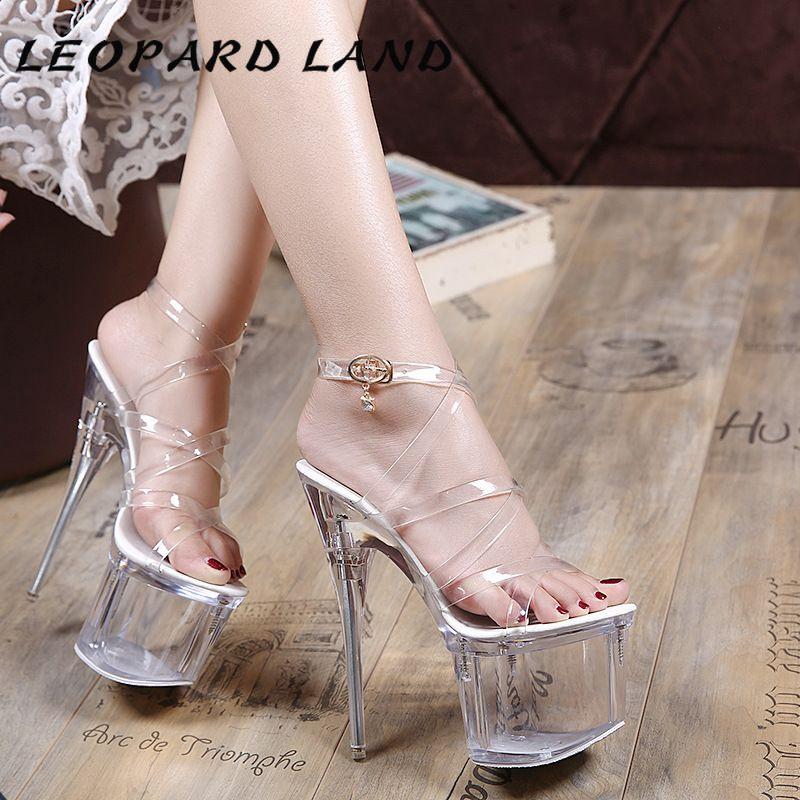 نمر LAND 18CM سوبر أحذية عالية الكعب السمك ملهى ليلي مثير حجر الراين أحذية كريستال الخنجر الصليب الأشرطة المرأة LFD-10368-2