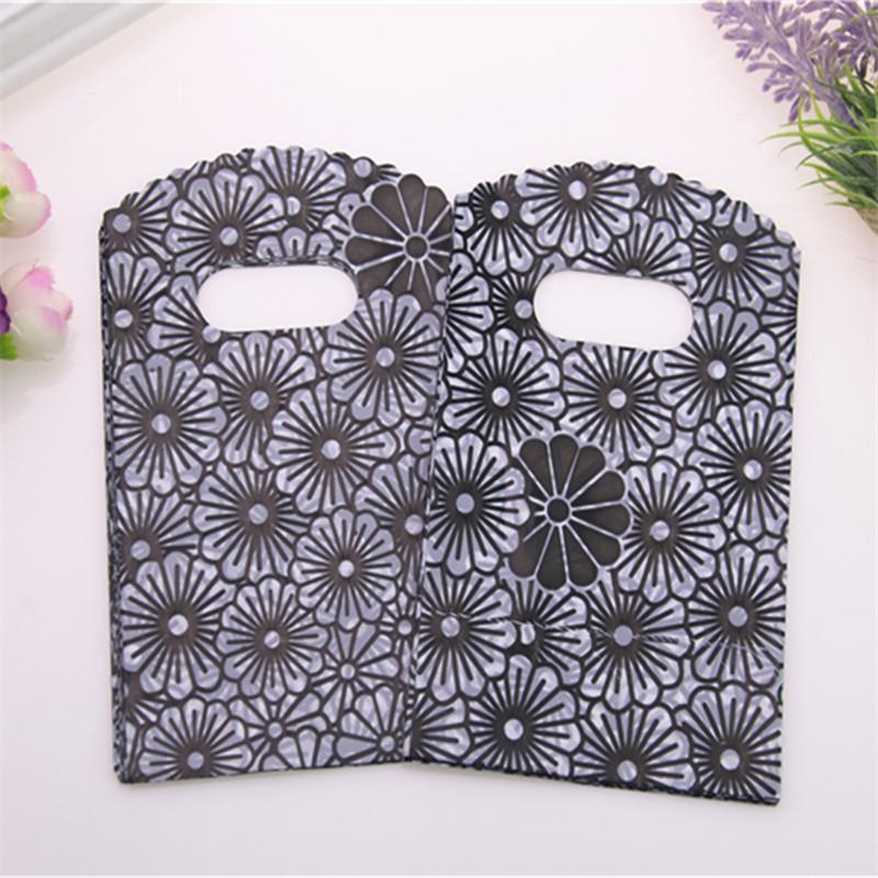 2017 Yeni Tasarım Yüksek Kalite Toptan 200pcs / lot 9 * 15cm Lüks Vintage Siyah Çiçek Ambalaj Çanta Küçük Butik Hediyelik Çantalar