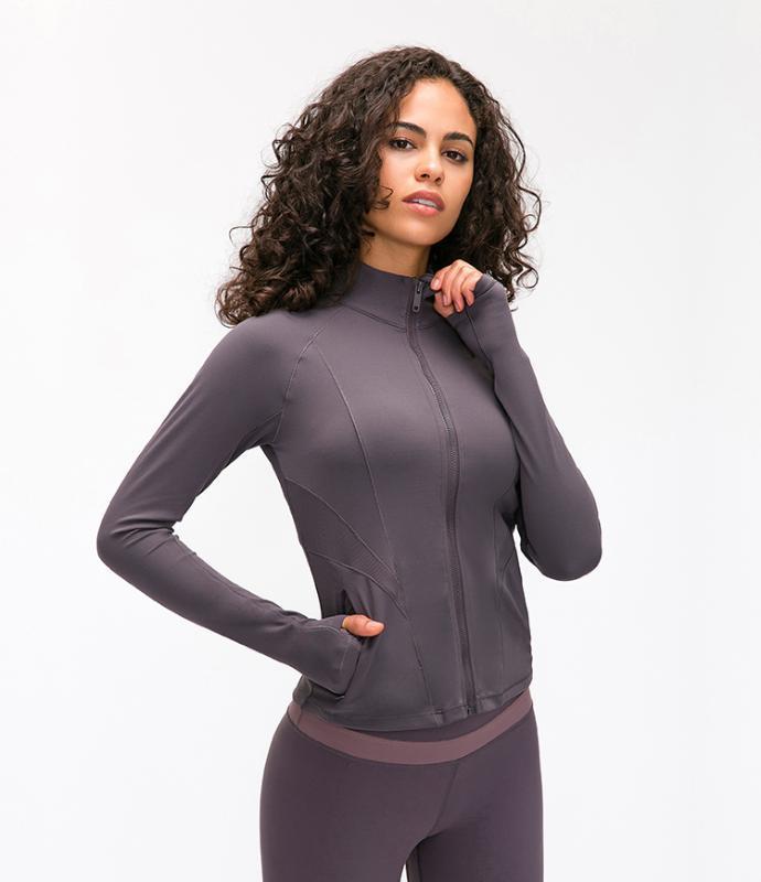 LOTRAVEL 2020 veste de yoga brossé double face élastique chemise de sport de fil de fitness à glissière Slim