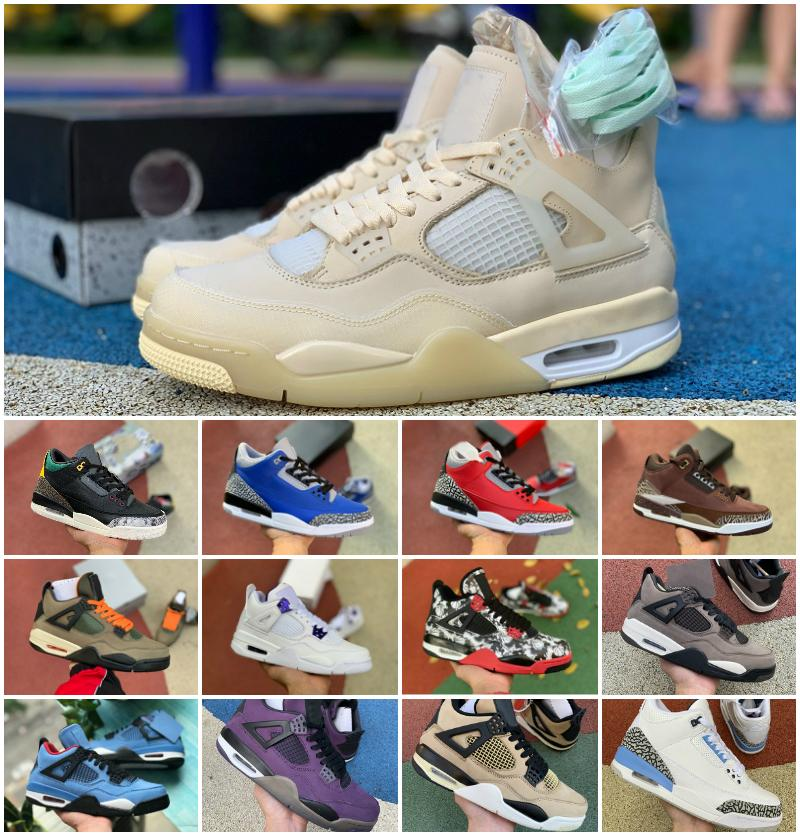 2020 مهزوم X ترافيس سكوتس مدة 4 4S أحذية الرجال لكرة السلة 3 لدت أسمنت الأبيض UNC الراستا رابتورز وايت سيل Retroes اسكواش الملكي حذاء رياضة