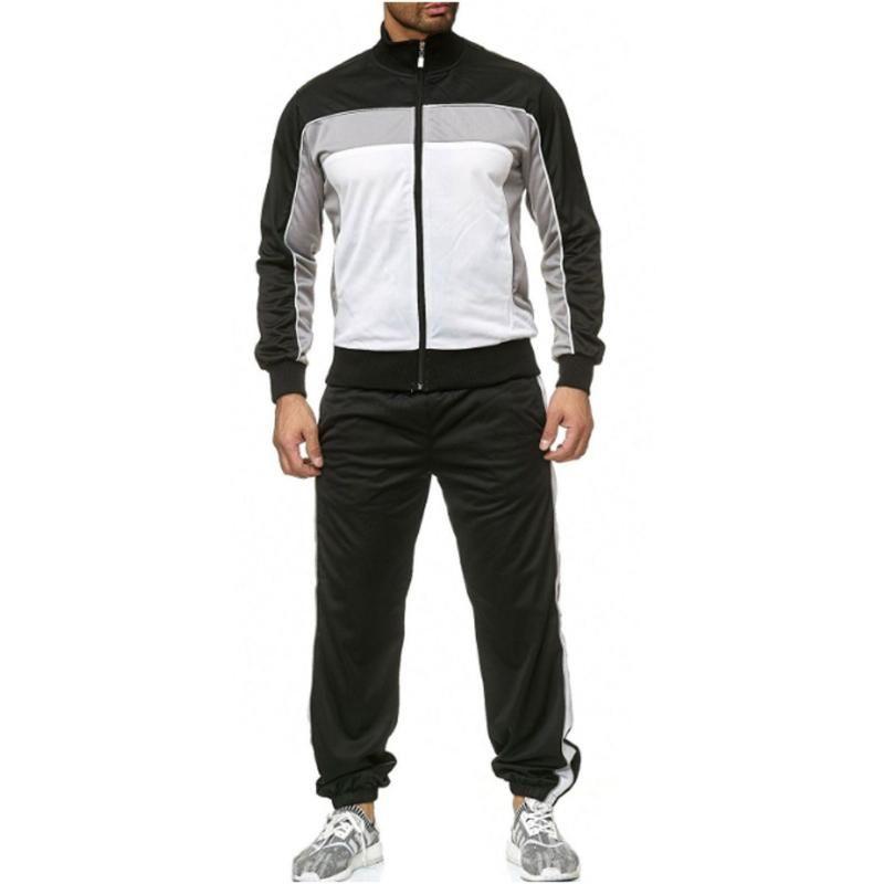 Tops suar calças e ternos masculinos casuais dos homens Autumn emenda Zipper Imprimir camisola Top Calças Define Esporte terno agasalho