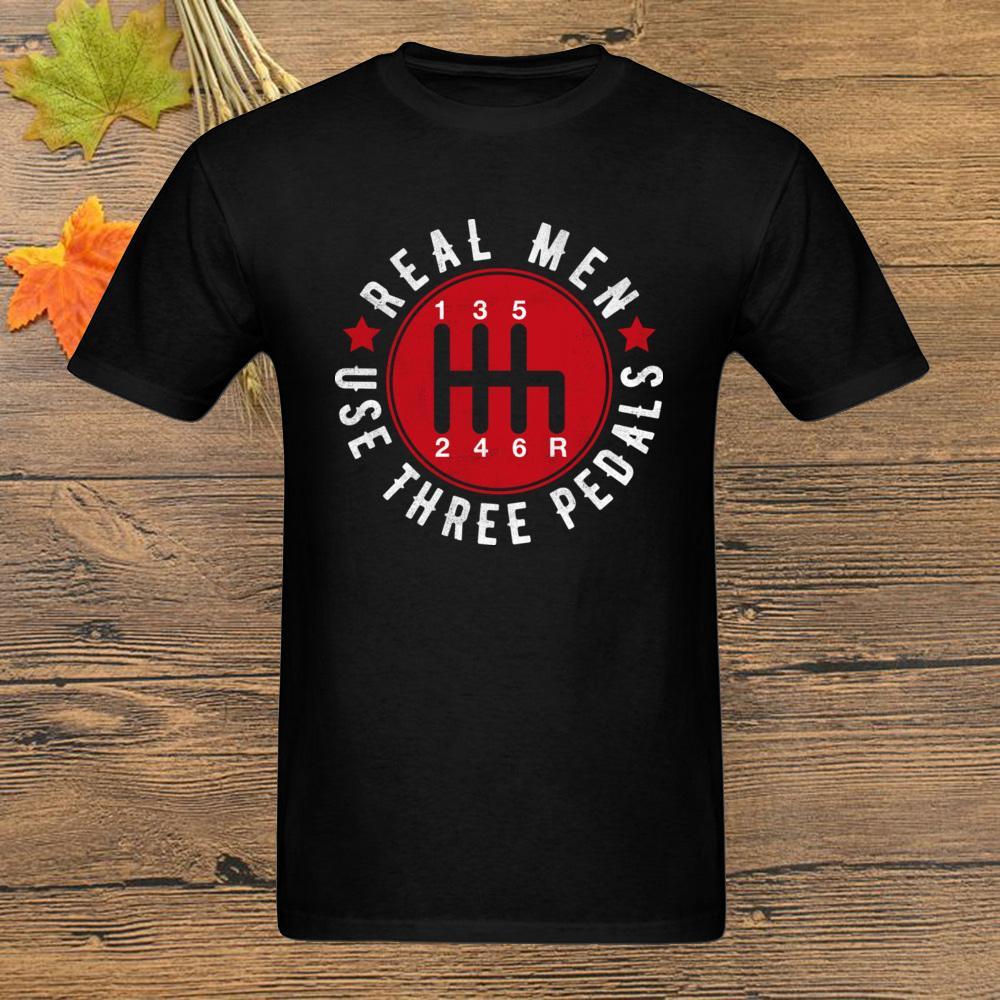 Real Men Use Three Pedals Six Speeds T Shirt Wagon Designer T-shirt Mens Black Tops Tees Clothing Cotton Vintage Tshirt