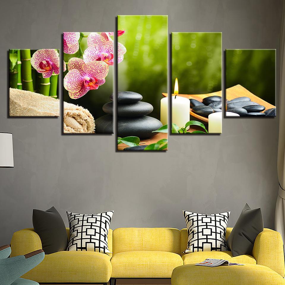 캔버스 회화 모듈 형 벽 아트 프레임 HD 인쇄 포스터 5 조각 대나무 난초 꽃 돌 캔들 그림 거실 장식
