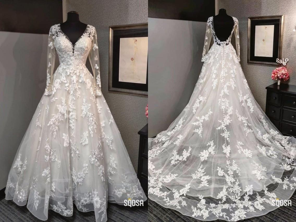 Elegant Lace A line Wedding Dresses V neck Real Photo Illusion Long Sleeves Chapel Train Cheap Wedding Dress Bridal Gowns Cheap