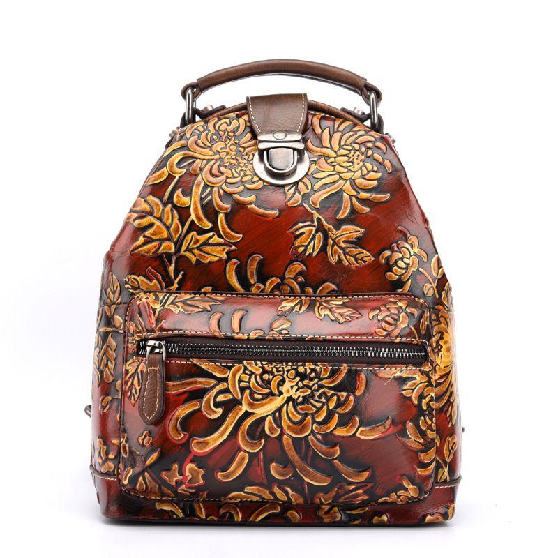 ABER 2020 New criativa Flor Embossed Shoulder Bag Mulheres Backpack retro artesanal de alta qualidade pequeno Viagem Backpack