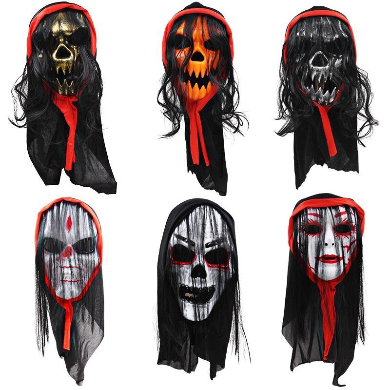 Жуткая маска с шарфом и волосы ПВХ Front Face Mask Halloween Masquerade Party Decor Принадлежит