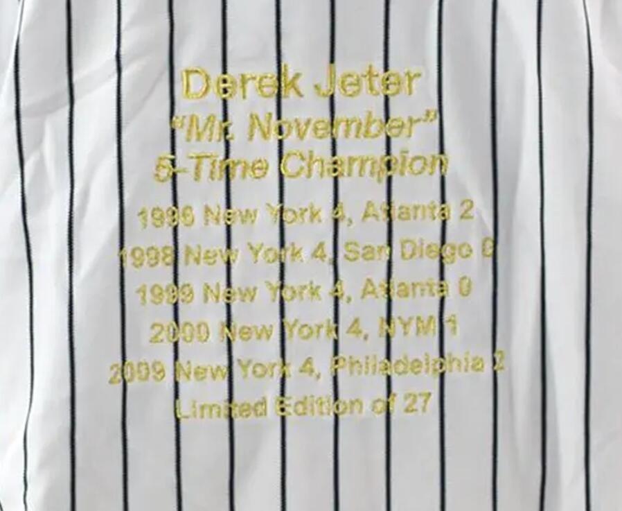 Jeter Mr. novembre carriera mette in evidenza premi UDA whie casa Gessato Firmato signatured camicie autografato Jersey