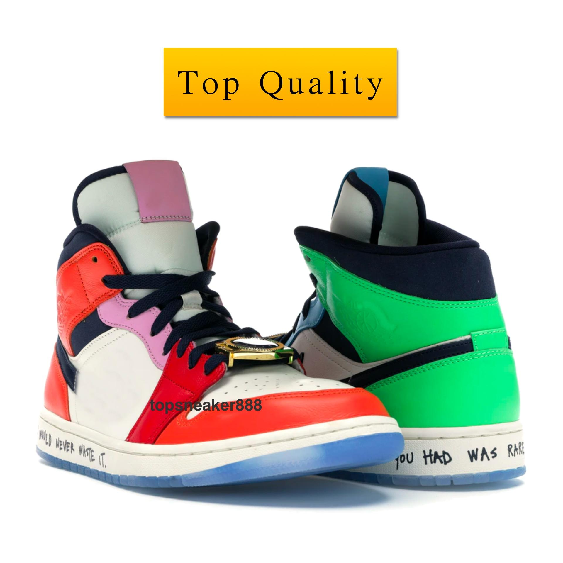 Air Jordan 1 Mid SE Fearless Melody Ehsani Shoes منتصف SE بلا خوف ميلودي احساني OG الجودة رجل حذاء رياضة الأحمر والأخضر إمرأة حذاء رياضة CQ7629-100