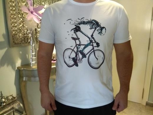 Kuakuayu HJN Worn Out Bikes T-Shirts Männer der neuen Art-Skeleton Fahrrad-Entwurfs-reizende kurze Hülsen-T-Shirts Top-Qualität Tees