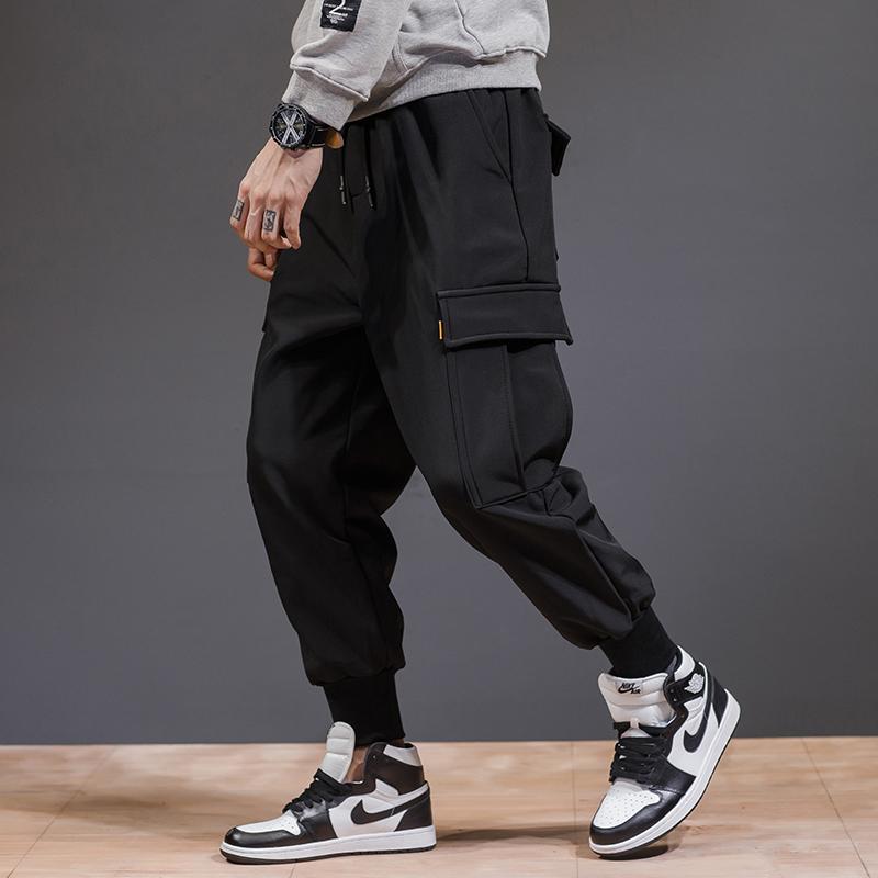 Pantalon Hommes Hommes Cargo Noir 2021 Printemps et automne Style coréen Style Coréen Coton Poches De Coton Adolescent Boy Hip Hop Hop