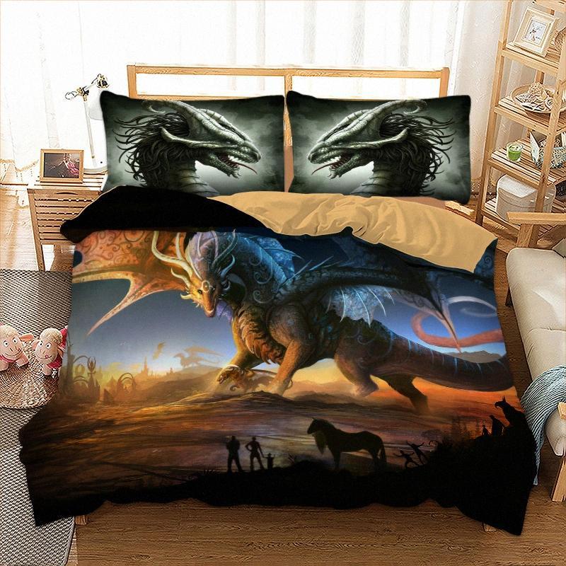 Cilected Dinosaurier 3D Printed Bettbezug-Set mit Kopfkissenbezug Qualität Bettwäsche Set Twin / Full / Queen / King Größe Childrens Schlafzimmer qD8r #
