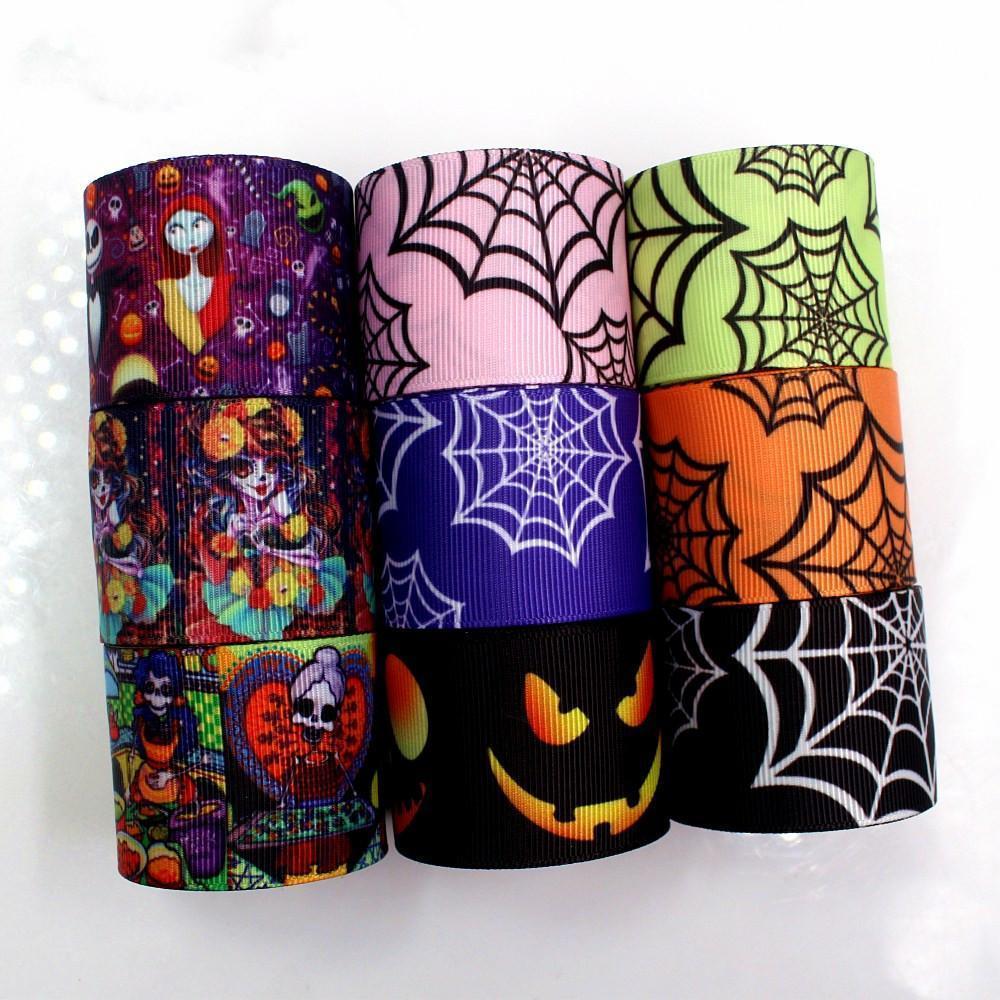 38mm 5 yardas de Halloween Suministros Impreso partido del abrigo de regalo Accesorios grosgrain cintas DIY hecho a mano del pelo Material de la boda