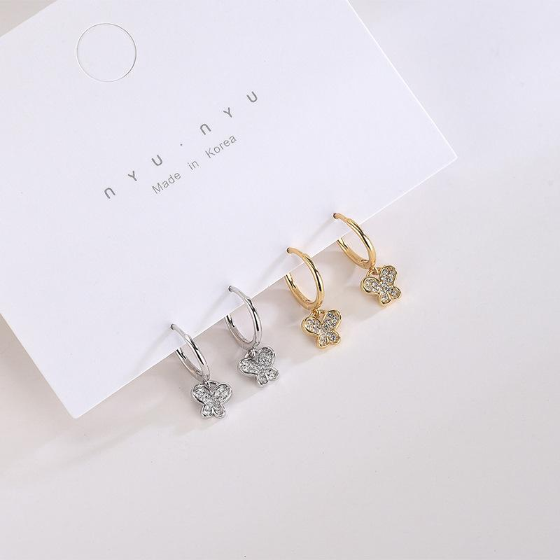 S925 Sterling Silver Japanese and Korean-Style Diamond-Set Zircon Butterfly Earrings Niche Artistic Style Cute Animal Earrings a Generation