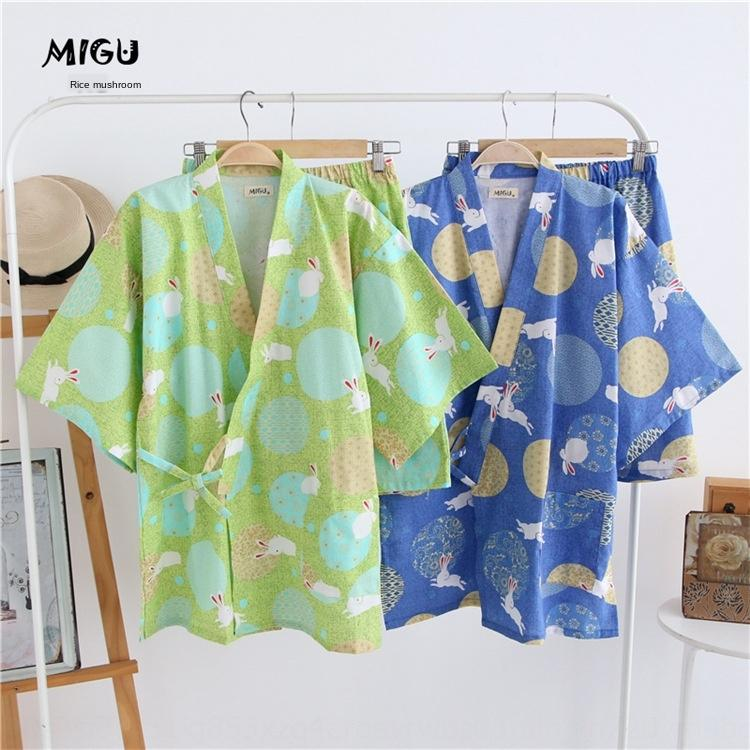 dAaU8 algodão grande coelho roupas kimono casal casa pijamas casa fornecendo roupas meia manga estilo japonês suor muito plana coágulo vapor