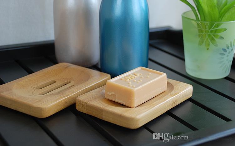 Jabón natural de madera de bambú Plato de madera sostenedor de la bandeja de jabón Jabón de almacenamiento en rack Placa envase de la caja para el baño plato de ducha de baño