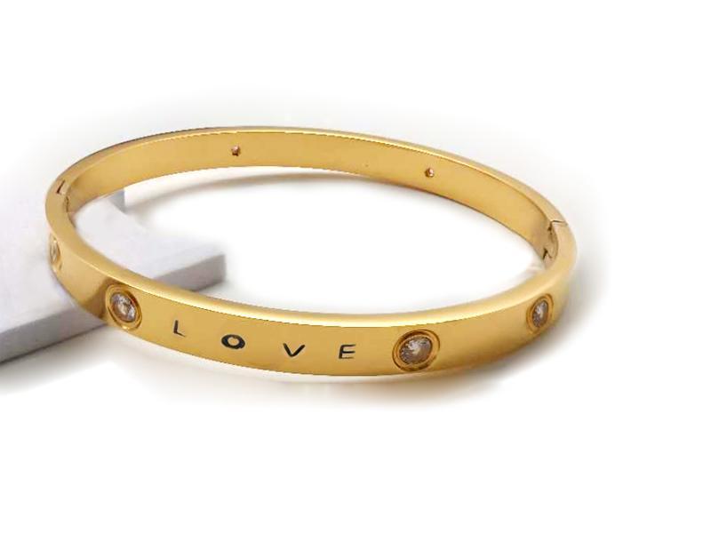 الكلاسيكية 316l الفولاذ المقاوم للصدأ الإسورة للرجل مصمم الفاخرة مجوهرات إمرأة أساور 18 كيلو الذهب الحب سوار للمرأة مجموعات الزفاف