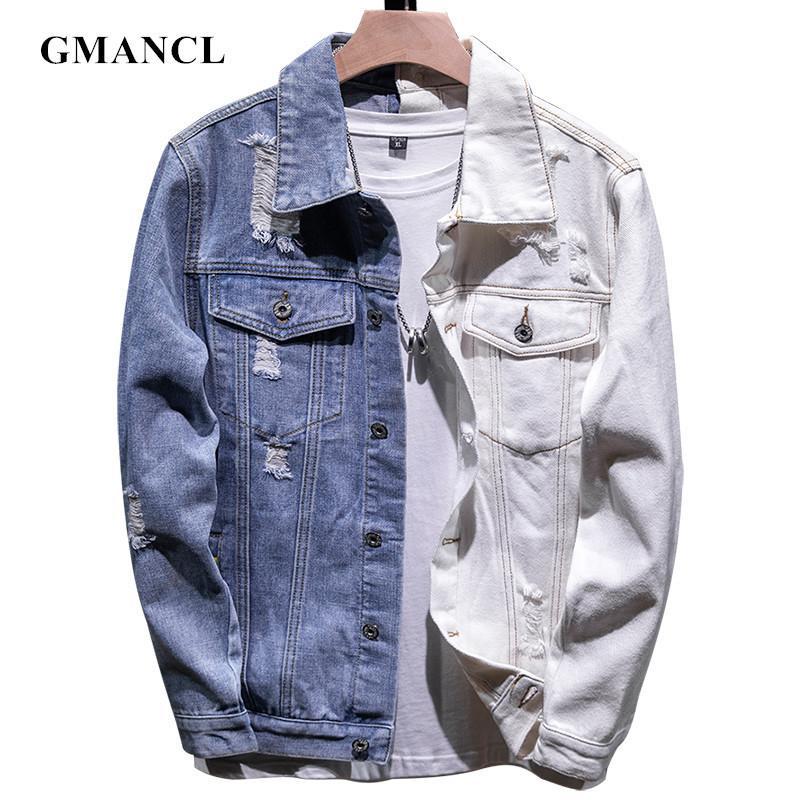 Мужчины Streetwear Двухцветный Лоскутная Slim Fit Jean куртки хлопка Твердая мотоцикла вскользь Джинсовые куртки пальто плюс размер 5XL T200725