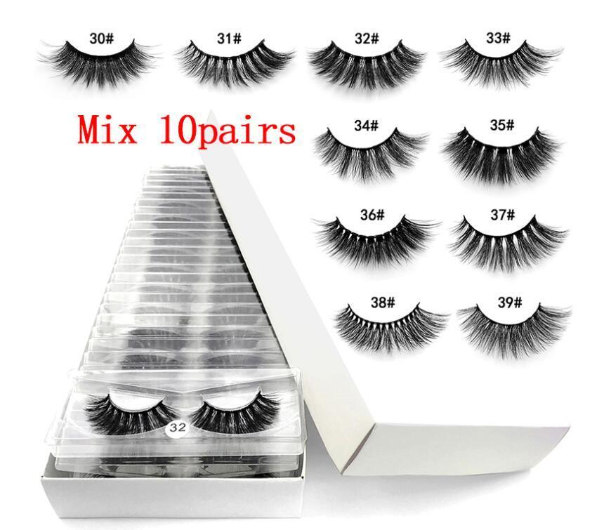 Imitado Mink cílios 10 estilos 3D Falso pestanas falsificadas Macio Natural Grosso cílios Eye Lashes 3D mink cílios falsos