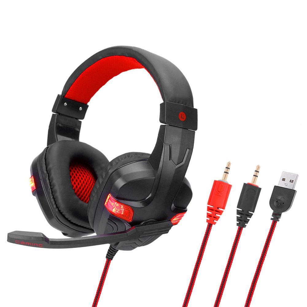 SY860MV Gaming Headset 3.5mm auriculares de oído atada con alambre Más de cancelación de ruido para auriculares con micrófono de volumen de luz LED de control AUX + USB para PC de escritorio