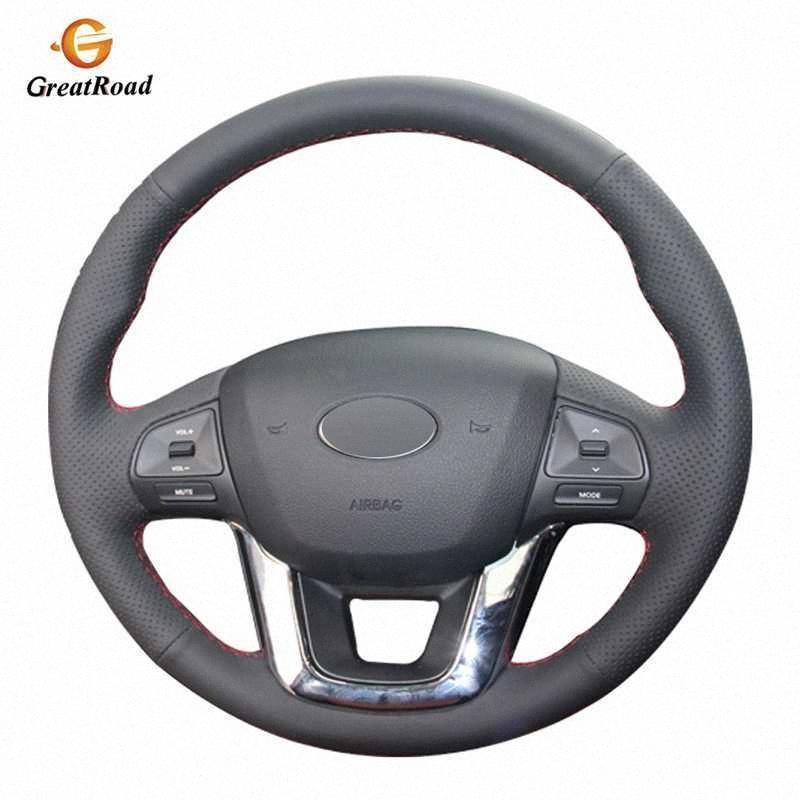 Couro preto Artificial DIY mão costurado Car cobertura de volante Para Kia K2 2010 2016 Kia Rio 2011 2016 fino volante cobre fyZ3 #