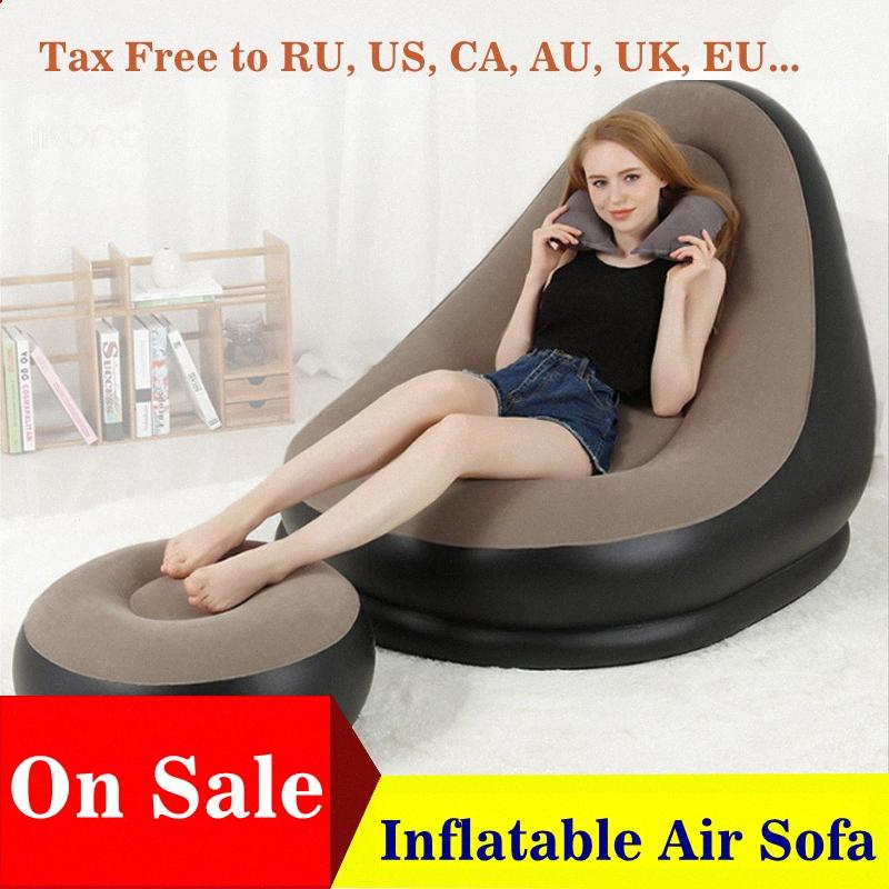 Inflatable Furniture Chair Sofa Lounger With Ottoman Foot Stool Rest Single Couch Beanbag Living Room Outdoor Air Lounge Chairs zpOT#