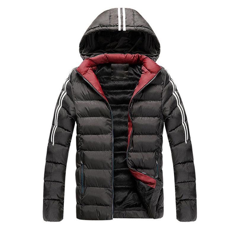 Giacca Nuova inverno degli uomini di nuovo arrivo casuale con cappuccio parka maschile Fleece Corti cappotti slim fit cotone imbottito il rivestimento degli uomini
