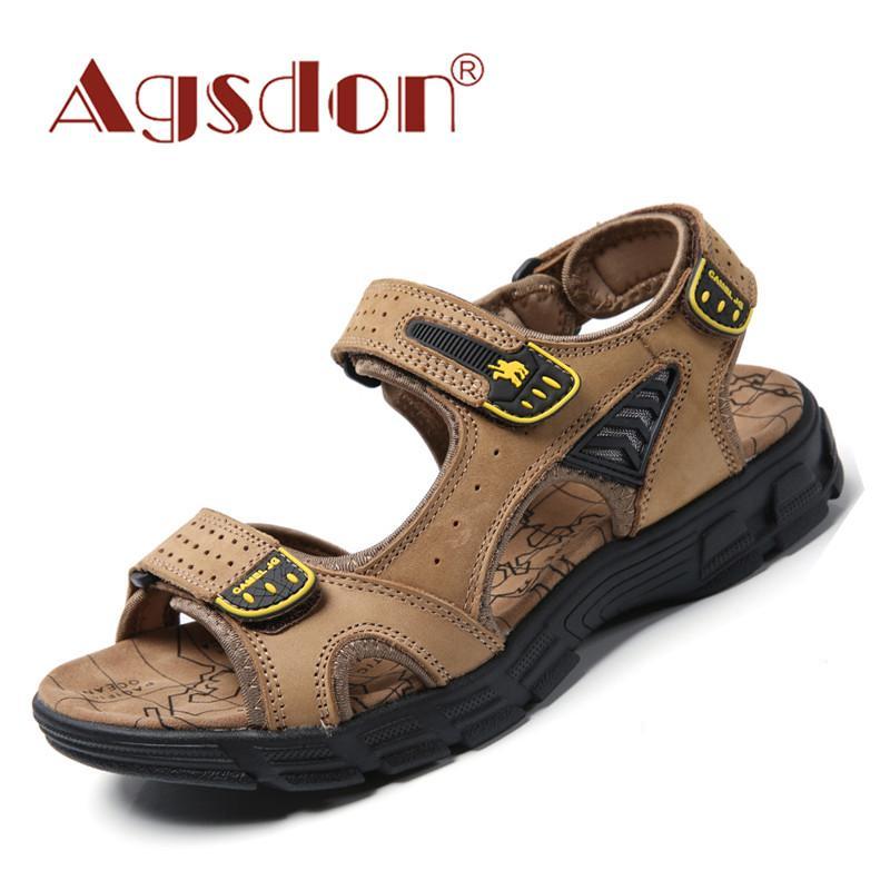 Nouveau Véritable Hommes cuir Sandales classique Loisirs d'été Chaussures de plage sandales pour homme Marque extérieure Sneakers Casual Big Shoe Taille