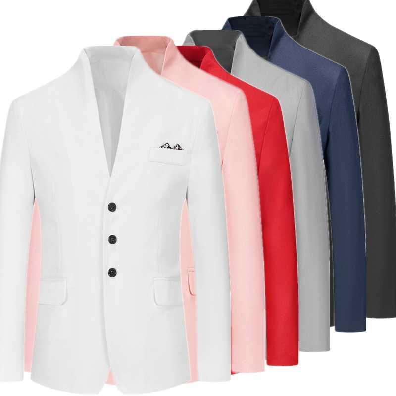 Stand hommes collier automne veste de costume nouvelle veste et manteau mode casual Blazer, noir bleu blanc rouge noir hommes costumes Blazers XXXL