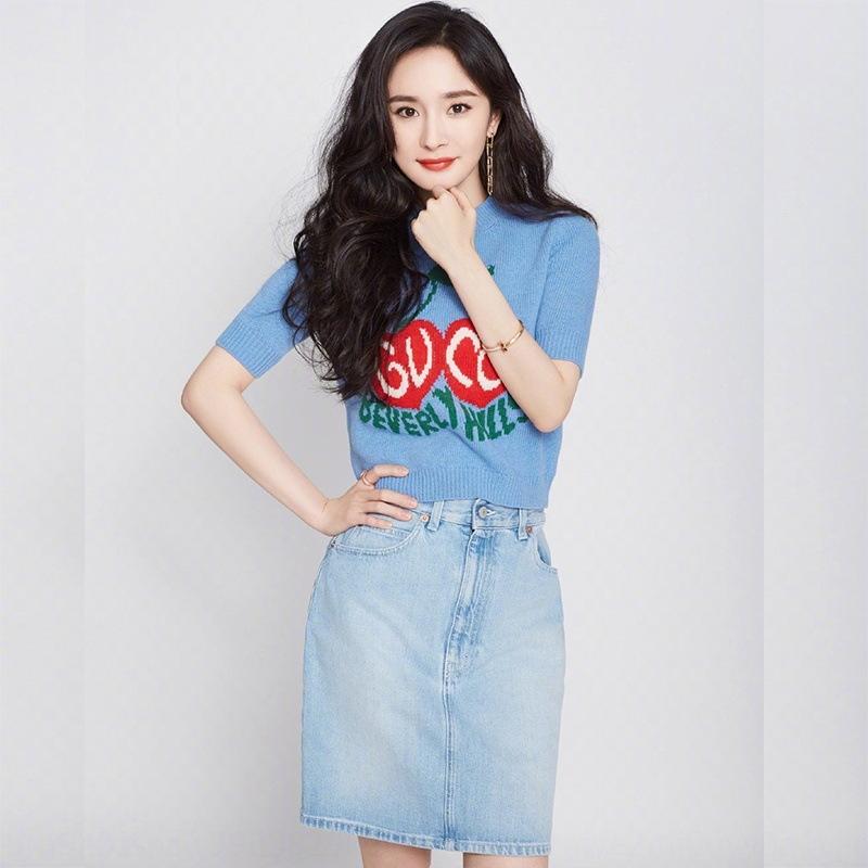 vV8i6 per Mi live protagonista stesso Yang Cherry jacquard sottile denim skirt maglione pannello esterno del denim completo blu donne Jacquard