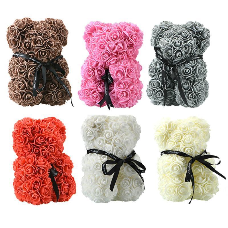 Dropshipping 25 centimetri decorazione floreale PE Rose Teddy Bear artificiale per le donne fidanzata regali San Valentino in contenitore di regalo