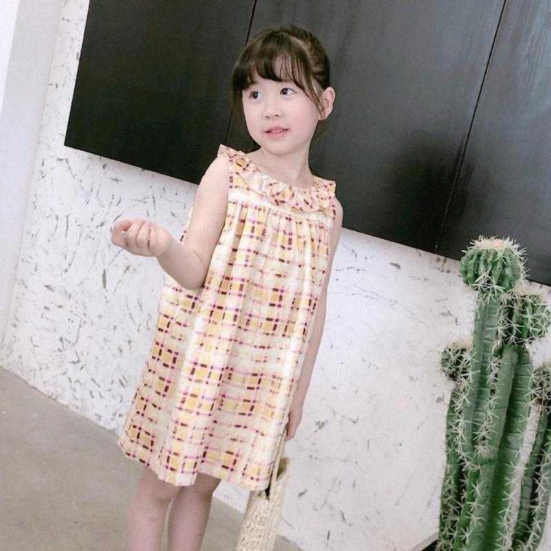 ragazzi delle ragazze dei vestiti di estate del bambino del cotone del vestito casuale plaid giallo fiore stampato colletto senza maniche maglia del vestito 7E06 #
