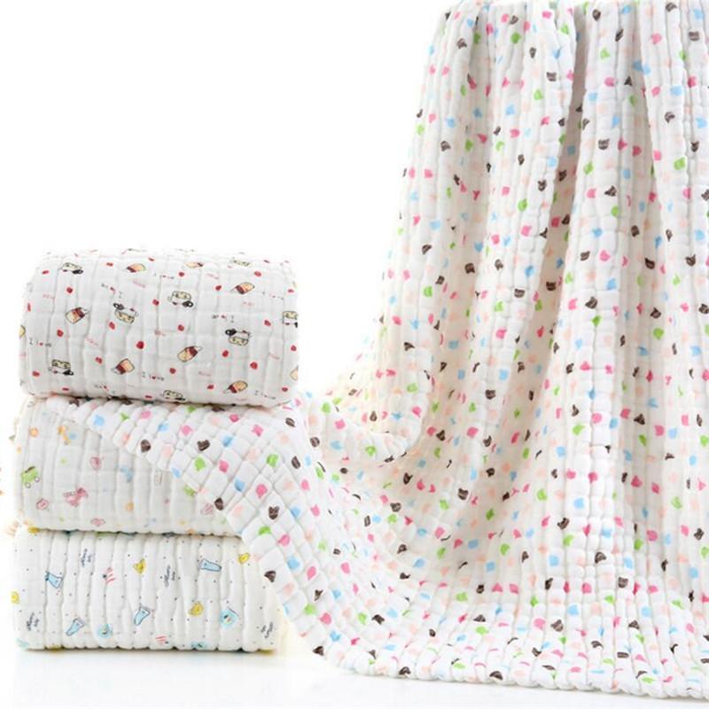 Super gruesa 12 capas de muselina de algodón recién nacido del bebé que recibe niños manta seersucker dormir infantil cubierta lecho manta