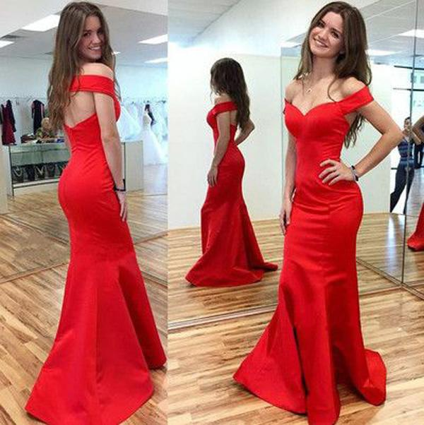 Simple Red Satin Dresses Evening Wear Prom Gowns Long 2020 Off The Shoulder Keyhole Backless Mermaid Formal Dress Women Long Plus Size