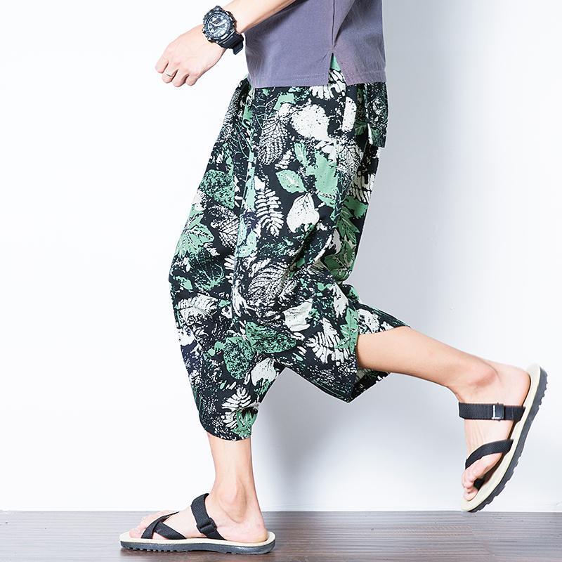 Imprimé Plage Sarouel pour les hommes Plus Size Joggers sport Pantalon Drawstring hommes Streetwear coréenne style décontracté Pantalon loose